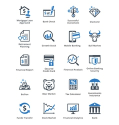 Personal finance icons set 1 - blue series vector