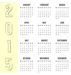 Simple calendar of 2015 year with the yellow side vector