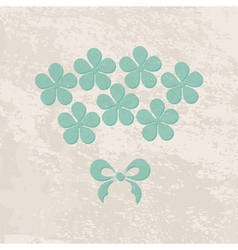 Grungy greeting card with flowers vector
