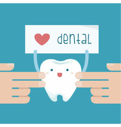 Hand touch the tooth that show love dental of text vector