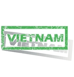 Green outlined vietnam stamp vector