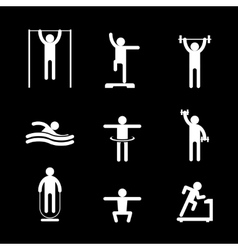 Fitness people icons vector