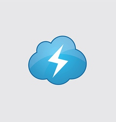 Blue cloud lightning icon vector