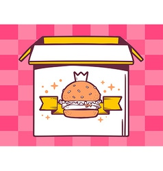 Open box with icon of big burger with cr vector