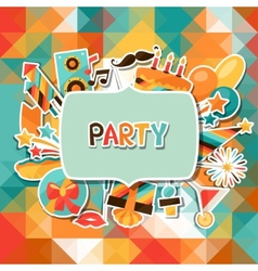 Celebration background with party sticker icons vector