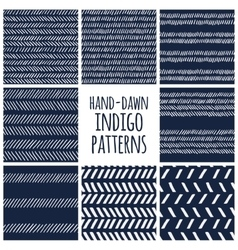 Set of eight indigo blue and white seamless hand vector