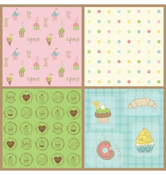 Beautiful cupcakes backgrounds vector