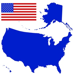 Silhouette map and flag of the usa vector