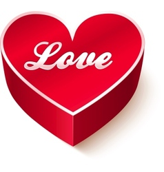 Red 3d heart with sign love vector