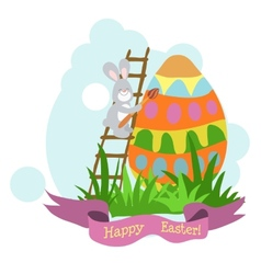 An easter card hare paint the egg in the green vector