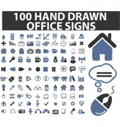 100 simple hand drawn signs vector
