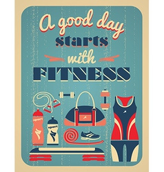 Fitness vintage poster vector