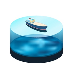 Isometric ship on the water vector