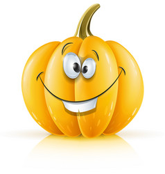 Smiling ripe orange pumpkin vector