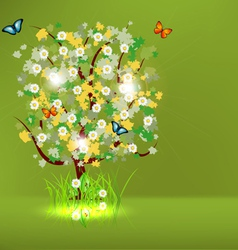 Blossoming spring - summer tree vector