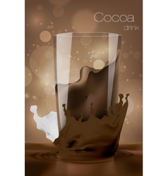 Glass of cocoa with milk in the coffee background vector