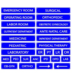 Set of blue hospital sign and medical abbreviation vector