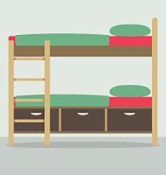 Side view of bunk bed on floor vector
