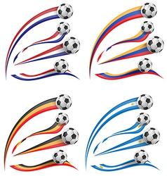 Flag set whit soccer ball vector