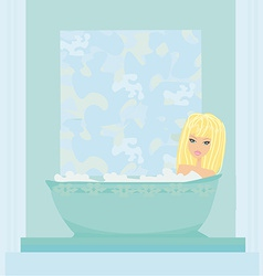 Woman bathing in bathtub in bathroom vector