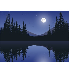 Moon over calm lake vector