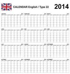 Calendar 2014 english type 22 vector