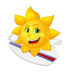 Cartoon sun with freckles on surfboard vector