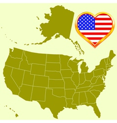Usa map and heart vector