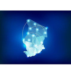 Chad country map polygonal with spot lights places vector