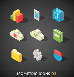 Flat isometric icons set 2 vector