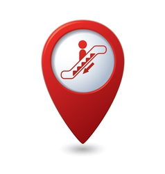 Map pointer with escalator icon vector