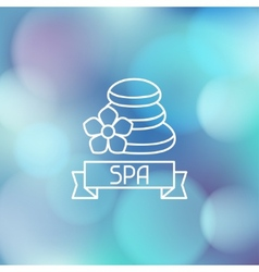 Spa wellness label on blurred background vector