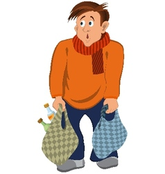Cartoon man in orange sweater and scarf with bags vector