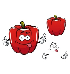 Cartoon funny red bell pepper vegetable character vector