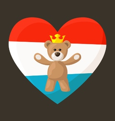 Luxembourg royal teddy bear vector