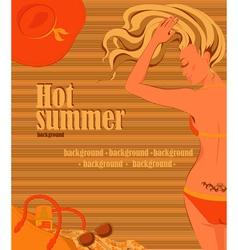 Sunbathing blonde girl background vector