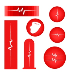 A set of cardiogram on red banner vector
