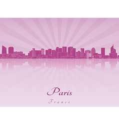 Paris v2 skyline in purple radiant vector