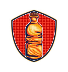 Soda cola water bottle retro crest vector