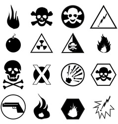 Danger warning icons set vector