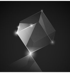 Gray glass cube background vector