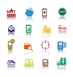Set pictograms shopping icons color with vector