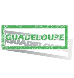 Green outlined guadeloupe stamp vector