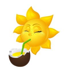 Close eyed sun drinks coconut juice vector