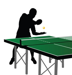 Ping pong player silhouette four vector