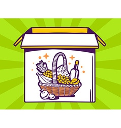 Open box with icon of basket with food o vector