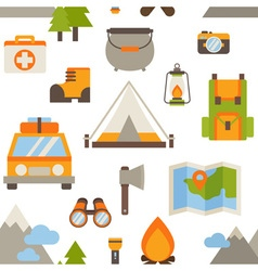 Hiking seamless pattern with flat camping elements vector