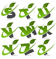 Swoosh green alphabet logo set3 vector