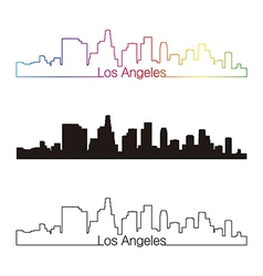 Los angeles skyline linear style with rainbow vector