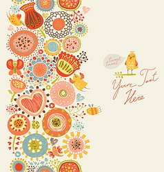 Floral pattern with funny birds and insects vector